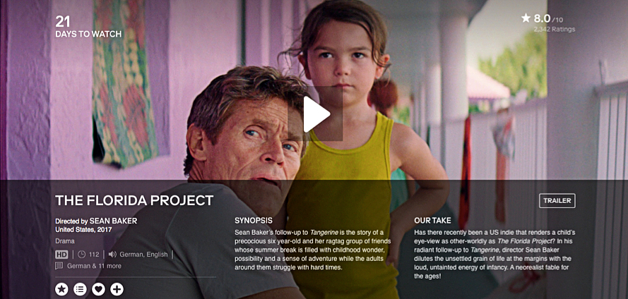 The Florida Project (2017) on the specialised subscription platform MUBI in Germany (screenshot taken on 16 March 2020)